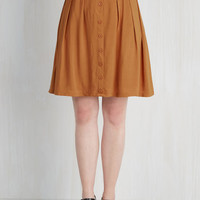 Safari, Scholastic Mid-length High Waist Nutmeg Latte Skirt by ModCloth