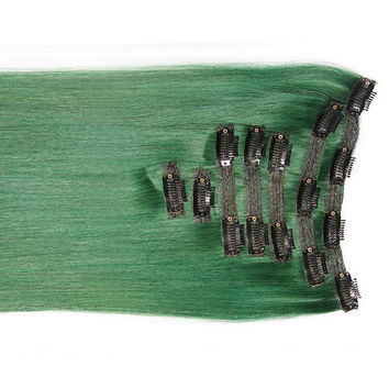 "Emerald Green:  21"" Clip In 100% Human Hair Extensions"