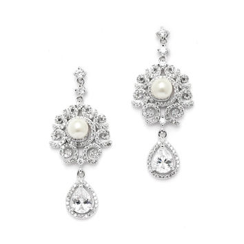 Luxurious Micro Pave CZ Wedding Earrings with Scrolls and Ivory Pearls