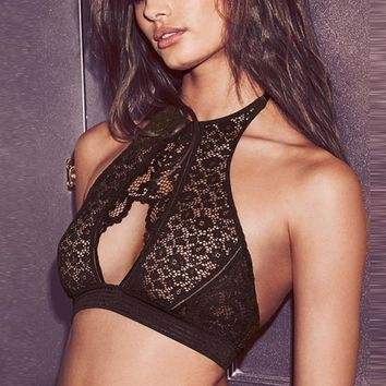 Missomo New Fashion Women Black Sexy Push Up Halter Wireless Bralettes Nets Semi-sheer Underwear Soft Breathable Bras