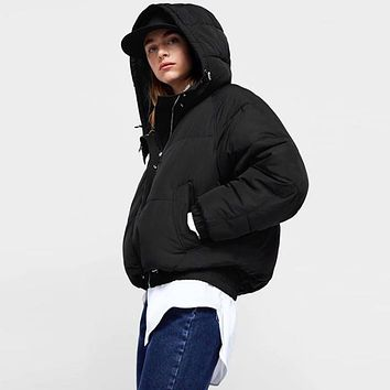 Women Loose Fashion Solid Color Long Sleeve Hoodie Bread Service Cotton-padded Clothes Coat