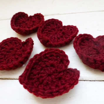 Crochet hearts, crochet applique, hearts burgundy, sewing patches, crochet patch, embellishment, handmade, hand crochet, ready to ship