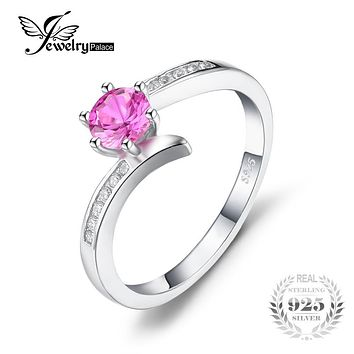 JewelryPalace Classic 0.7ct Created Pink Sapphire Ring 925 Sterling Silver New Fashion Jewelry For Women And Girl Christmas Gift