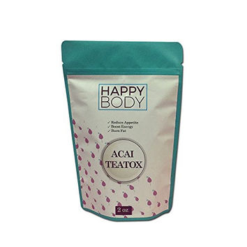 Happy Body Acai Teatox Detox Tea - Slimming Tea for Natural, Healthy Weight Loss - Herbal Powder - Appetite Suppressant Helps Reduce Gas Bloating - Increases Energy & Metabolism Levels