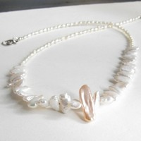 Pink and Ivory fresh water pearl with handmade sterling silver closure