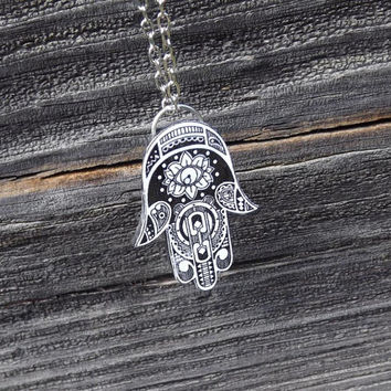 Hamsa necklace, Black and white hamsa necklace, Hamsa pendant necklace, Hand of Fatima necklace, Hand necklace, Hamsa Jewelry, Hand necklace