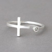 CZ Sterling Silver Sideways Cross Wrap Ring from kellinsilver.com