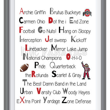 Ohio State University - Buckeyes Alphabet Art Print for Nursery - Baby's Room - Gift for Baby Shower 11x14