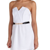Belted Sweetheart Strapless Dress by Charlotte Russe - White Combo