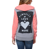 Glamour Kills Young Love Grey & Coral Zip Up Hoodie at Zumiez : PDP