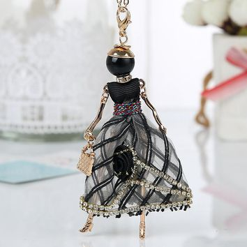 Statement Flower Doll Necklace Dress Handmade French Doll Pendant 2018 News Alloy Girl Women Necklace Fashion Jewelry