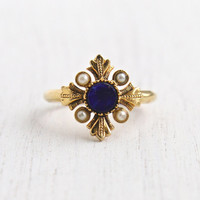 Vintage Faux Lapis & Pearl Ring - Retro 1970s Gold Tone Signed Avon Dark Blue Stone Victorian Revival Costume Jewelry / Viennese 1976