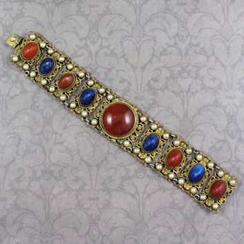 Vintage 1920s Austrian Gilded Brass Filigree Carnelian and Lapis Glass Faux Pearl Panel Linked Bracelet