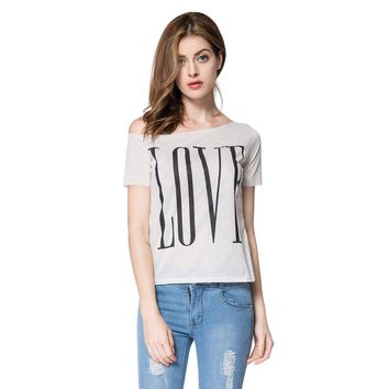 Stylish One-Shoulder Letter Print Short Sleeve T-Shirt For Women