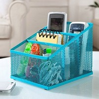 PAG Mesh Desk Organizer Pen Holder Steel Office Supply Caddy Desk Storage Box 3 Part Blue