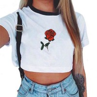Crop Top 2017 Short Sleeve Cotton T Shirts New Casual Tees Cute top