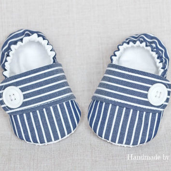 3-6 MONTHS, Ready-to-ship, Baby boy shoes, nautical baby boy shoes, fabric shoes, baby slippers