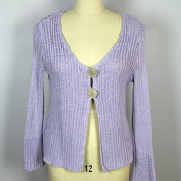 J Jill Lavender Cardigan Sweater 2 Big Buttons Shaker Knit Large