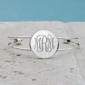 Peacock Feather Monogram Pendant Necklace Silver Bracelet Monogram Bangle Cuff Bracelet Glass Gray Peacock Feather Bracelet Gifts for Her