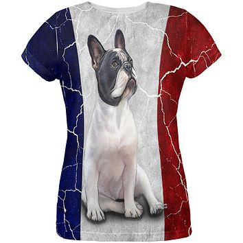 French Bulldog Live Forever Flag All Over Womens T Shirt