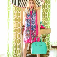 Town Meets Country Dress-Hot Pink