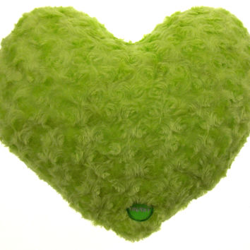 "Green Heart Plush Throw Bed Pillow Multi Color LED Light Up Flash 13"" Microbeads"