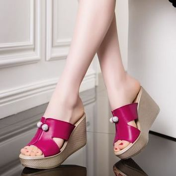 New Summer Genuine Leather Platform Wedges Sandals Women Fashion High Heels Female Summer Shoes