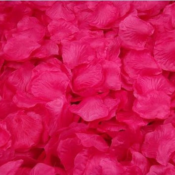 Crazycity New Arrival 2000pcs Colorful Silk Rose Petals Artificial Flower Bridal Shower Favors for Wedding Party Supplies Decoration (Dark hot pink)
