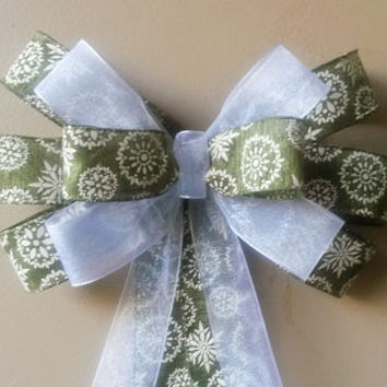 Christmas Bow-Green Snowflake Christmas Bow- Faux Taffeta Ribbon-Wreath Pew Bow Stair Door  Mailbox Tree Topper