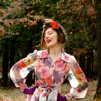 1960s Floral Dress... Semi Sheer Sleeves... Fabulous Spring Florals... LIVING BOUQUET