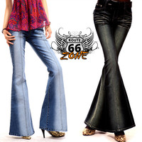 Vintage 60's Style Embroidered Women's Flared Jeans