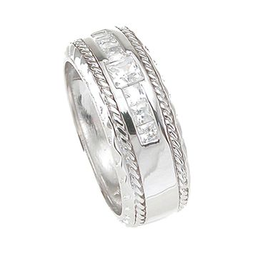 925 Sterling Silver Princess Cut Mens Wedding Band 0.25 Carat Weight - Size 11