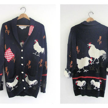 vintage 1990s novelty Chicken sweater. women's cardigan sweater. size M