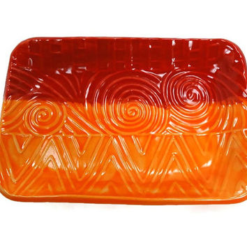 Red Orange Dish, Boho Decor, Orange Kitchen Decor, Candy Dish, Trinket Dish, Orange Red Plate, Boho Kitchen, Red Pottery, Bohemian Decor