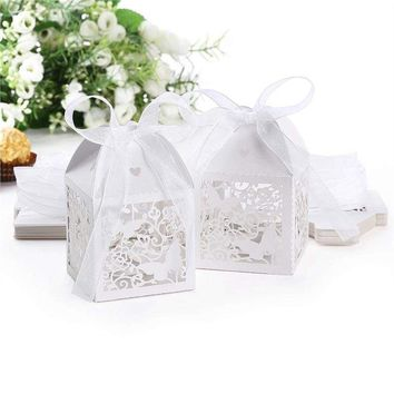 50pcs Laser Cut  Butterfly Style Wedding Favor Candy Boxes