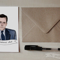 Michael Scott watercolor illustration greeting Valentine's day card The Office Steve Carrell Ignorant slut