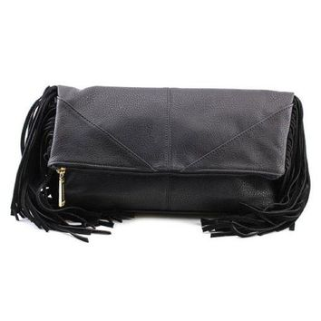 DCCKAB3 Steve Madden BWestie Black Fringed Crossbody Clutch Handbag