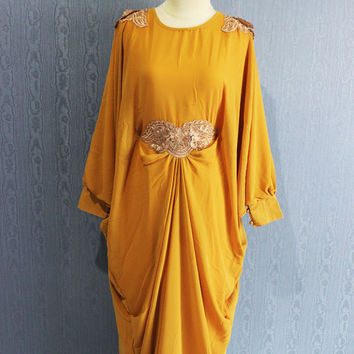 Chiffon Kaftan Maternity Dress Yellow Afantee Caftan Maxi Dress with lining Plus Size Soft - Limited Edition Kaftan Maxi Dresses
