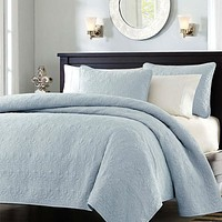 Full / Queen size Quilted Bedspread Coverlet with 2 Shams in Light Blue