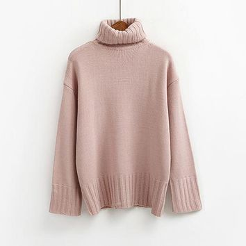 autumn 2017 pullover women sweaters and pullovers winter turtleneck korean pink cute retro knitting ugly christmas sweater