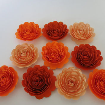 "Orange shades paper flowers set, 3"" roses, Best of Fall under 30 Wedding table centerpiece decorations, 10 wall flowers Autumn Pumpkin fest"