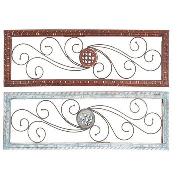 Intricately Curved Metal Wood Wall Panel Assorted Set Of Two