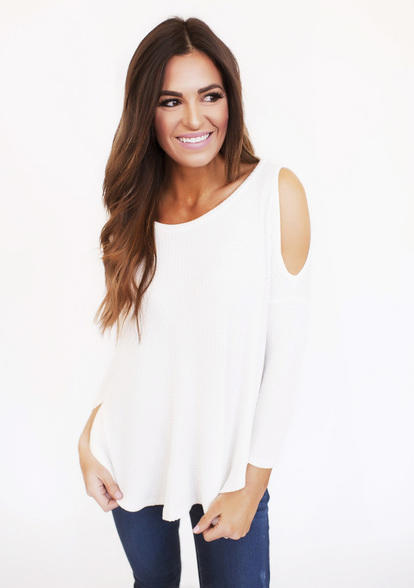 16c5abb568088e Cold Shoulder Waffle Knit Top- Ivory from Dottie Couture Boutique