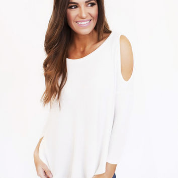 Cold Shoulder Waffle Knit Top- Ivory