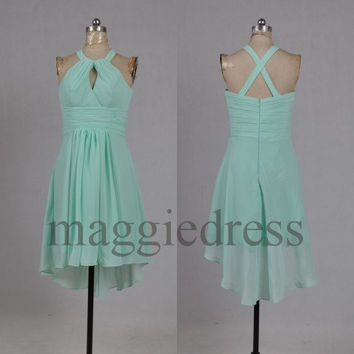 Custom Mint Halter Short Bridesmaid Dresses 2014 Party Dresses Formal Prom Dress Evening Dresees Wedding Party Dress Homecoming Dresses