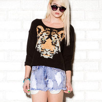 High-Low Sequined Tiger Sweater