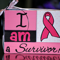 Breast CANCER Awareness SURVIVOR wooden block stacker