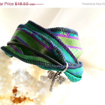On Sale Green Wrap Bracelet, Boho wrap bracelet, Vintage Sari Silk & Leather boot bracelet, Free shipping