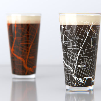 Austin, TX - University of Texas - College Town Map Pint Glass Set