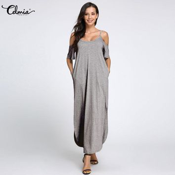 Oversized Celmia 2018 Women Sexy Off Shoulder Strapless Split Maxi Dress Summer Boho Beach Dress Casual Loose Solid Long Vestido